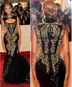 Wholesale Custom made 2016 Hot Sexy Beyonce MET Gala Black And Gold Embroidery Beaded Mermaid Celebrity Dresses Evening Gowns Prom Dresses