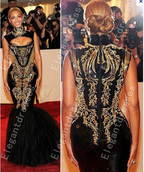 best selling Custom made 2016 Hot Sexy Beyonce MET Gala Black And Gold Embroidery Beaded Mermaid Celebrity Dresses Evening Gowns Prom Dresses