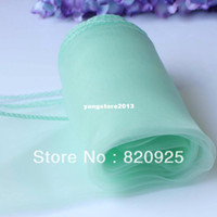 Wholesale Mint Chair Sashes Wedding - 10 X Mint Green Organza Chair Cover Sashes Bow Table Runners For Wedding Party