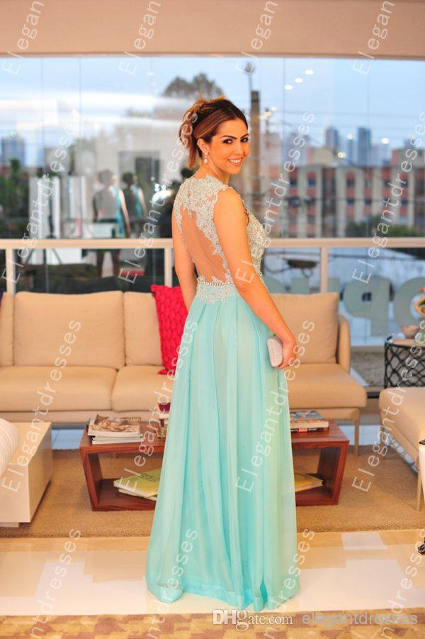 Beauty 2019 Elegant High Neck Lace Chiffon Sheer Backless Prom Dresses Party Cheap Evening Party Gowns Custom Formal Vestidos De Soiree