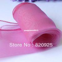 ingrosso corridore rosa da tavolo-10pcs New Rose Pink Sheer Organza Runner Wedding Party Decoration Fornitura
