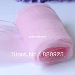 Pink Organza Chair Canada - 10 X Pink Organza Chair Cover Sashes Bow Table Runners For Wedding Party
