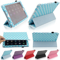 Wholesale Sleeping Tablets - Polka dot 3 Fold Magnetic Smart Cover Case For iPad Air 5 2 3 4 Mini Mini2 Retina PU Leather Folding Tablet PC Case With Sleep Wake Funtion