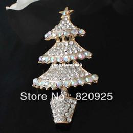 Wholesale Xmas Tree Pin - 1 X Gold Plated Gorgeous Clear AB Rhinestone Christmas Tree Brooch Pin Xmas Gift