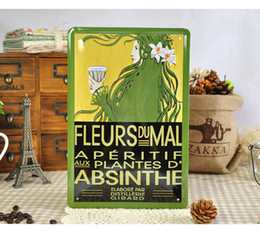 Wholesale Souvenir Angels - Wholesale 20*30cm FLEURS DU MAL ABSINTHE Tin Sign Flower Lady Wall Decor Metal Painting Retro Poster Pub Bar Business Gifts Souvenir Signs