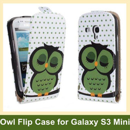 Wholesale Owl Pattern Case - Wholesale Lovely Owl Pattern PU Leather Flip Cover Case for Samsung Galaxy SIII S3 Mini i8190 with Magnetic Snap Free Shipping
