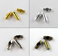 corrente de ouro de bolas venda por atacado-O fechamento do conector do MIC 300pcs cabe 2,4 milímetros de ouro da corrente da bola, de prata, de bronze etc. (b538)