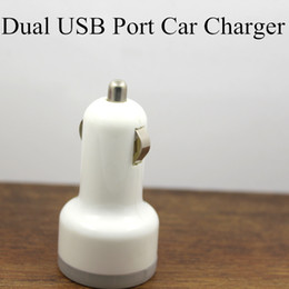 Wholesale I Ipad - Dual USB Port Car Charger For IPhone 4S 3GS 3G I IPad 2 Mini Auto Adapter 2.1A 1A USB charger iphone charger