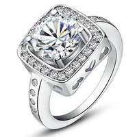 Wholesale wholesale swarovski rings - New fashion Whited Gold Plated Use Swarovski 18K GP 4.5CT Emulational Diamond Ring wedding ring Lovers Gift