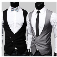 Wholesale Grey Blazers For Men - Wholesale - Free Shipping Fashion Men's Suit Vest Top Slim & Fit V-Neck Single-breasted blazer Dress Vest for men Black Grey 9211