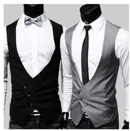Wholesale Men Dress Vests Grey - Wholesale - Free Shipping Fashion Men's Suit Vest Top Slim & Fit V-Neck Single-breasted blazer Dress Vest for men Black Grey 9211