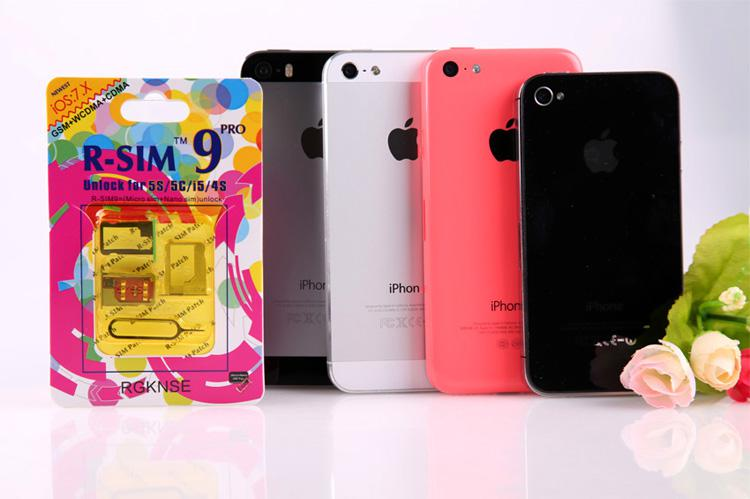 100% original R-SIM 9 RSIM 9 Unlock ALL iPhone5S 5C 5G 4S RSIM9 pro IOS 7 IOS7 7.0.1 7.0.2 7.1 RSIM 9 PRO Docomo AU Sprint Verizon T-MOBILE