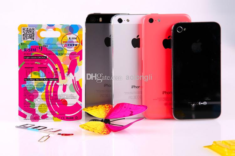 100% original R-SIM 9 RSIM 9 Desbloquear TODOS los iPhone5S 5C 5G 4S RSIM9 pro IOS 7 IOS7 7.0.1 7.0.2 7.1 RSIM 9 PRO Docomo AU Sprint Verizon T-MOBILE