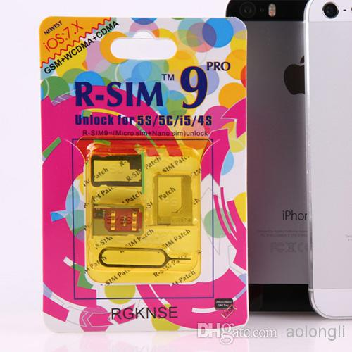 100% Original R-SIM 9 RSIM 9 Lås upp alla iPhone5S 5C 5G 4S RSIM9 Pro iOS 7 iOS7 7.0.1 7.0.2 7.1 RSIM 9 Pro DoComo Au Sprint Verizon T-Mobile