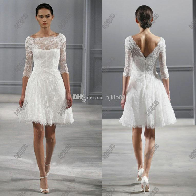 Illusion bateau neck 34 sleeves monique lhuillier spring 2014 short illusion bateau neck 34 sleeves monique lhuillier spring 2014 short wedding dresses knee length beach backless wedding dress little white 2014 online with junglespirit Image collections