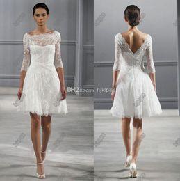 Wholesale Black Monique - Illusion Bateau Neck 3 4 Sleeves Monique Lhuillier Spring 2014 Short Wedding Dresses Knee length Beach Backless Wedding Dress Little White