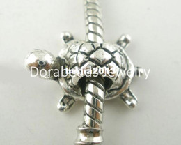 Wholesale Animals Turtles - Free Shipping! 20 PCs Silver Tone Turtle Charms Beads Fit Charm Bracelets 19x13mm (B03793) jewelry making DIY findings