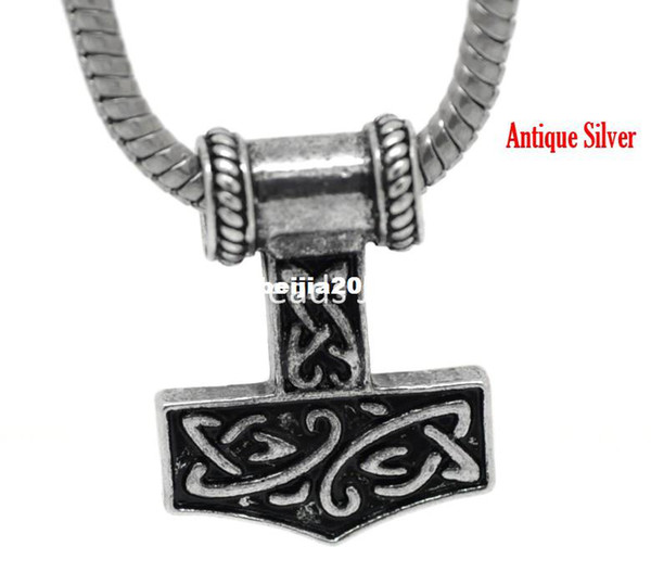 Ücretsiz kargo! 10 Adet Antik Gümüş Thors Hammer Avrupa Charm Boncuk 27x21mm ((1 1/8