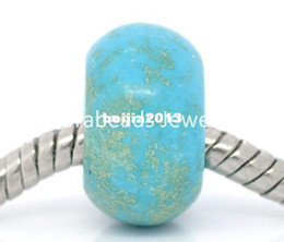 Wholesale Core Jewelry Wholesale - Free Shipping! 30 Turquoise Spacer Beads Fit Charm Bracelet(no core) (B08247) jewelry making findings DIY