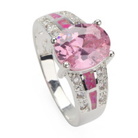 Pink Cubic Zirconia and pink opal (purple) SILVER Plated RIN...