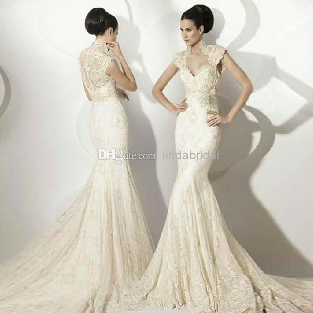 2014 New Wedding Dresses Cap Sleeves V Neck High Collar Bridal Formal Gowns Mermaid Trumpet White Ivory Cream Lace Gown W1462
