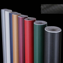 Wholesale 3d Carbon Gold - FreeShipping 3D Carbon Fiber Vinyl Twill Weave Sheet black white blue gold silver red