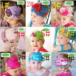 Wholesale Wholesale Metallic Ribbon - Top Fashion Baby Girl Toddler Infant Elastic Feather Hairband Headbands Baby Hair Accessory