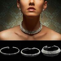 Wholesale Diamante Diamond - Diamante Crystal Diamond Rhinestone Necklace Choker Silver Wedding Party Chain 1 2 3 4 5 Row