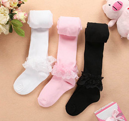 Wholesale Lace Tights For Girls - Girl Socks Lace Cotton Pantyhose For Girl Baby Tights Pants Individually Package Lace Can Remove