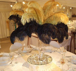 Wholesale Wedding Ostrich Feather Centerpieces - Wholesale 100pcs lot 12-14inch(30-35cm) Gold ostrich feathers for Wedding centerpiece Table centerpieces Party Decoraction supply