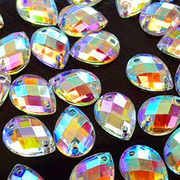 Wholesale Drops Sew Stones - New 2014 Big Promotion For Sewing Accessories 650 pcs 8x13 mm Crystals AB Color Sew on Acrylic Rhinestones Drop Shape Flat back Stones