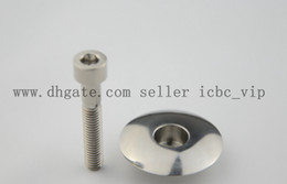 "Wholesale Road Bike Stem Cap - 1 1 8"" Titanium Ti CNC Headset Top Cap & M6 x 35mm Titanium Bolt Stem cover bicycle parts"