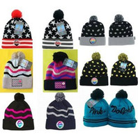 Wholesale Grey Pink Dolphin Beanie - New Arrival Pink Dolphin Beanies Knitted Pom Pom Beanies Cheap Classic Adjustable Snapbacks Hats Cap Winter Street Wear Hip Hop Beanies Caps