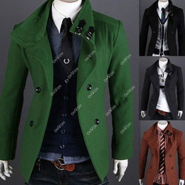 Wholesale Green Wool Trench Coat - S5Q Men's Slim Fit Double Breasted Strap Trench Casual Coat Long trench coat AAACPR