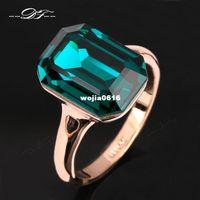 ingrosso anelli per le donne grandi dita-2014 nuovo smeraldo grande cristallo elegante anello di barretta all'ingrosso 18 k placcato oro marchio di moda di moda per le donne anel DFR276