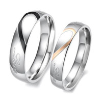 Wholesale Titanium Couple Promise Rings Set - S5Q New Heart Shape Matching Titanium Steel Lovers Promise Ring Couple Wedding Bands AAAAZV
