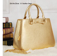 Wholesale Reliable Gold - Designer handbags Women fashion genuine leather golden bags antirust hardware 33x16x23cm doing reliable buisness free shipping