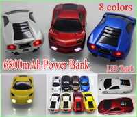 Wholesale External Car Charger - Mini Car Style 6800mAh Universal Backup Battery USB Power Bank External Battery Charger for cell Phone iPod MP4 PSP with led light