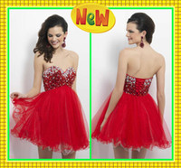Wholesale Sweetheart Glitter Sequin Short Dress - Fashion Red Homecoming Dresses Mini Above Knee Sweetheart Ruffles Lace-up Glitter Bling Bling Sequins Party Cocktail Short Prom Dress