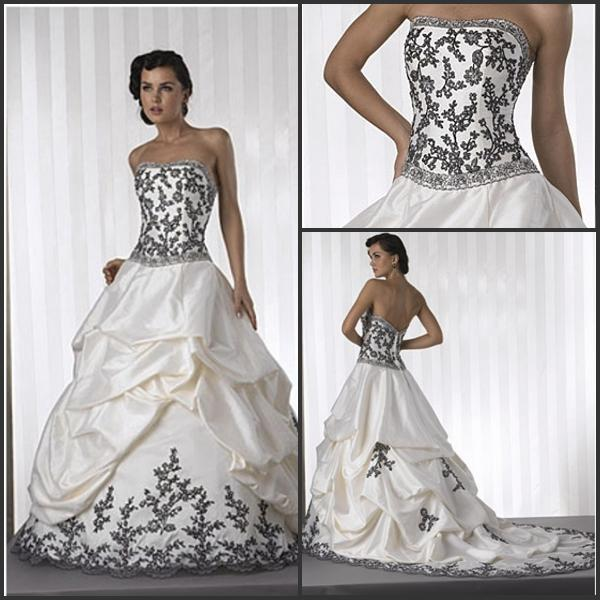 Discount 72014 A Line Wedding Dresses Strapless White Satin Black ...