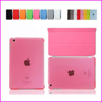 Wholesale ipad smart clear back case online - iPad6 Ar2 iFold Magnetic Smart Cover Back Matte Case For iPad Air Mini Mini2 Retina Folding Case With Auto Sleep Wake Funtion