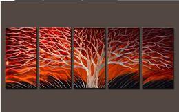Wholesale Original Paintings Impressionist Landscapes - Metal Sculpture Wall Red Tree, METAL PAINTING original abstract wall art , oil painting