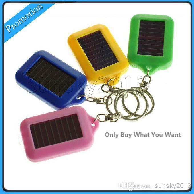 Cute Model Solar Power Keychain LED Flashlight Light Lamp Mini Key Chain 3 LED Multi-color Rechargeable