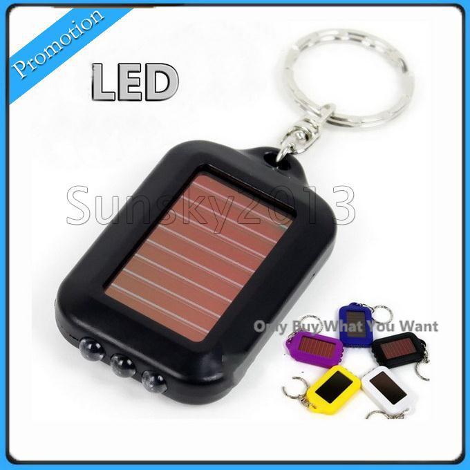 Бесплатная доставка милая модель солнечной энергии брелок светодиодный фонарик свет лампы мини брелок 3 LED многоцветные аккумуляторная