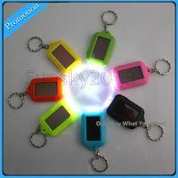 Wholesale Solar Powered Flashlight Keychain - Solar Power LED Key Chain Night 3 LED Flashlight with Rechargable Battery Mini Keychain Multi-color Flashlights