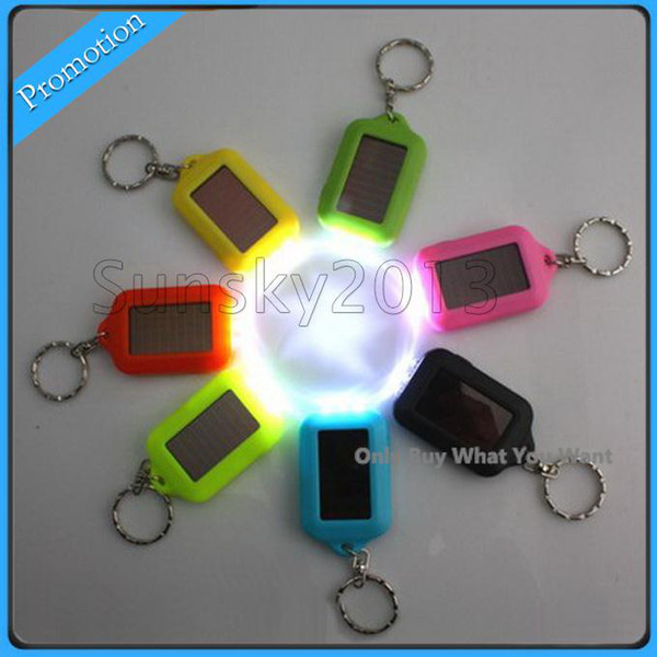 top popular Solar Power LED Key Chain Night 3 LED Flashlight with Rechargable Battery Mini Keychain Multi-color Flashlights 2019