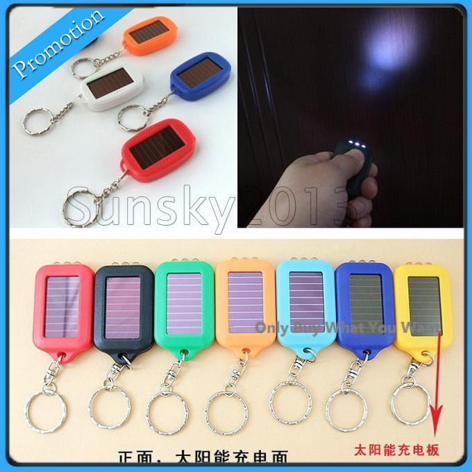 Free Shipping Cute Model Solar Power Keychain LED Flashlight Light Lamp Mini Key Chain 3 LED Multi-color Rechargeable
