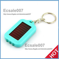 Wholesale mini solar powered led light - Free Shipping Cute Model Solar Power Keychain LED Flashlight Light Lamp Mini Key Chain 3 LED Multi-color Rechargeable