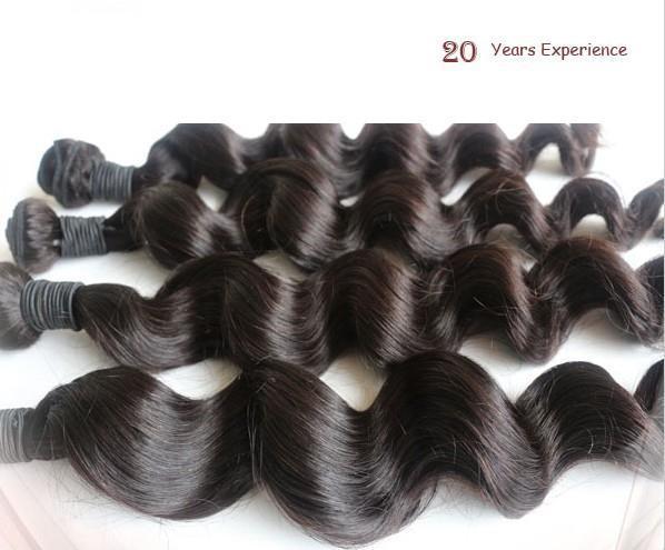 貿易5A!高品質ルースウェーブ100%ペルーバージンレミー人間の髪の延長100G / PCの色#1B#1同じ長さまたはミックスLenght DHL