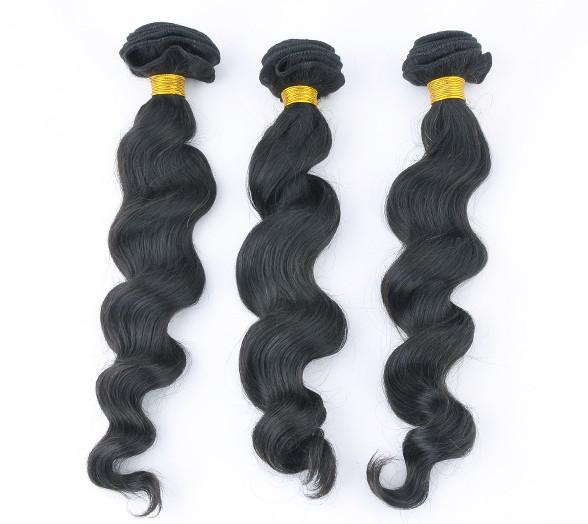 High quality 5A Loose Wave 100% Peruvian virgin remy human hair extensions 100g/pcs color #1b #1 same lenght or mix lenght DHL free in stock